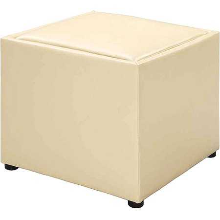 Faux Leather Square Storage Ottoman With Wood Tray Cream