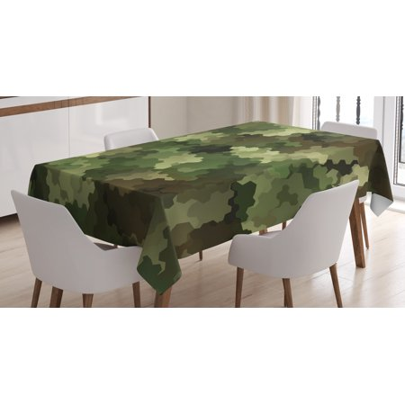 Camo Tablecloth, Frosted Glass Effect Hexagonal Abstract Being Invisible Woodland Army, Rectangular Table Cover for Dining Room Kitchen, 52 X 70 Inches, Green Light Green Brown, by Ambesonne