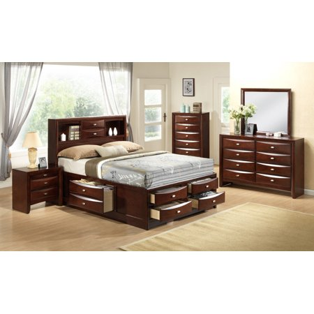 Gymax Modern 5 Piece Bedroom Furniture Set Bed Dresser Mirror Chest Night Stands