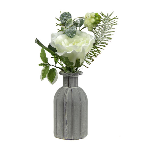 Northlight Seasonal Frosted Rose, Snow Berries and Pine Tree Needle Artificial Winter Floral Arrangement