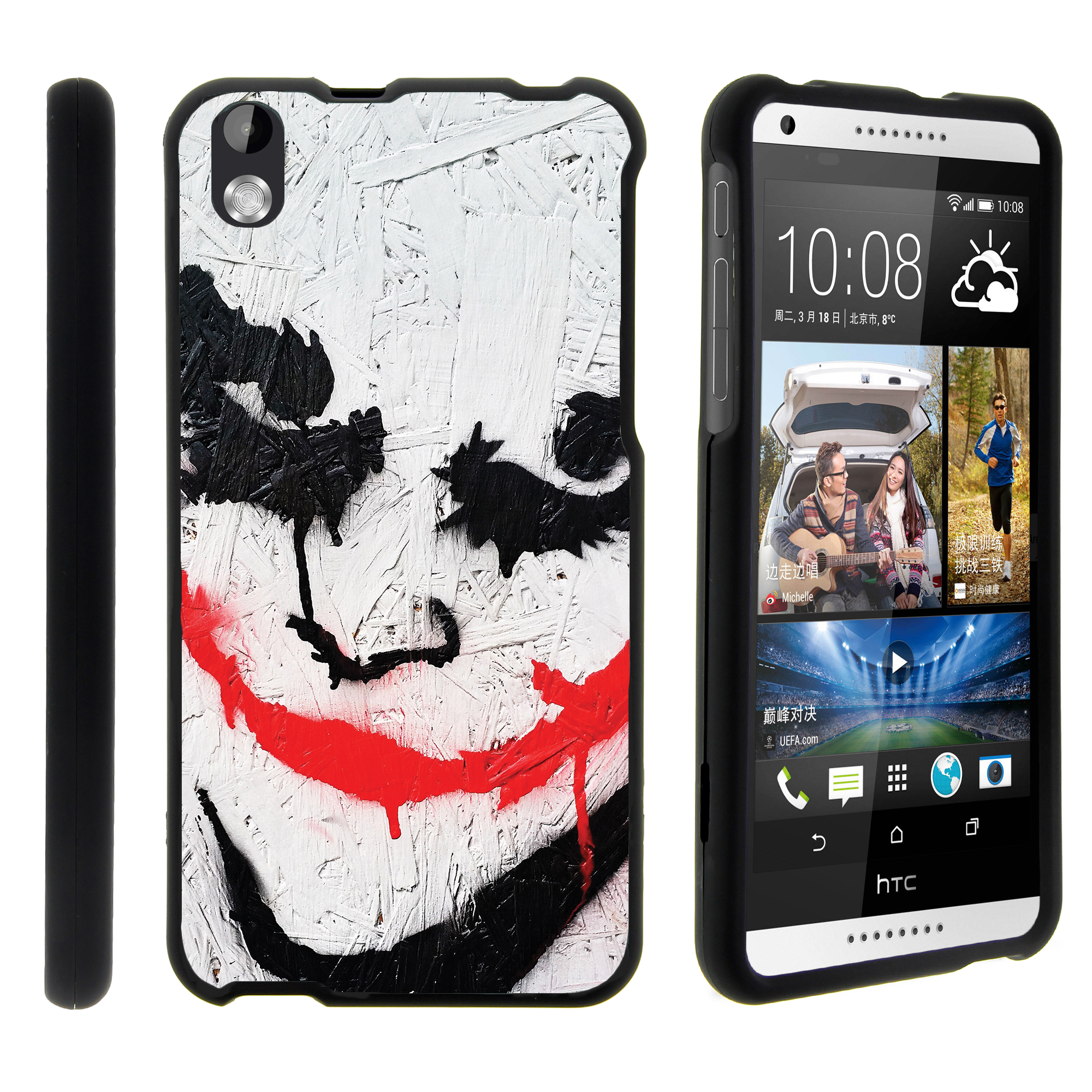 HTC Desire 816, [SNAP SHELL][Matte Black] 2 Piece Snap On Rubberized Hard Plastic Cell Phone Cover with Cool Designs - Joker