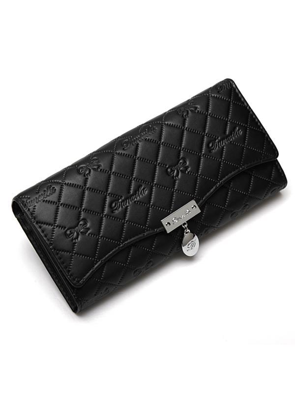 Fashion Women Lady Grid Bowknot Leather Button Long Wallet Clutch Purse Handbag Pouch
