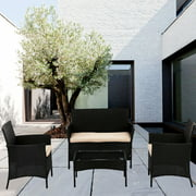 Patio Rattan Wicker Furniture Outdoor 4pc Rattan Sofa Garden Conversation Set with White Cushions
