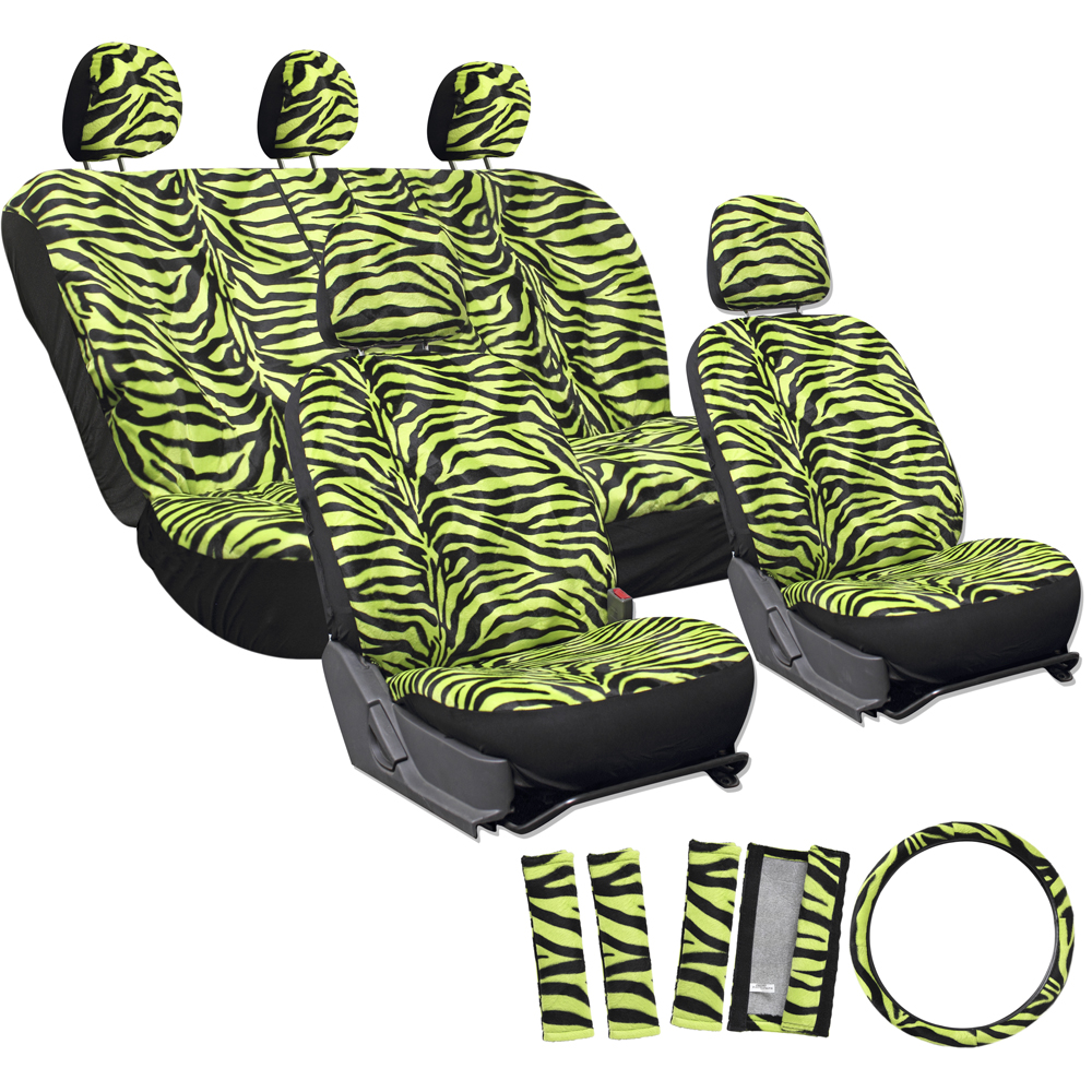 OxGord 17-Piece Set Zebra Animal Print/Auto Seat Covers Set, Airbag Compatible, Front Low Back Buckets, 50/50 or 60/40 Rear Split Bench, Universal Fit