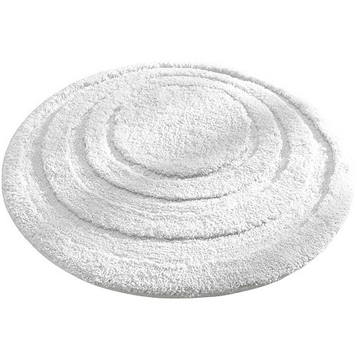 "InterDesign Microfiber Round Bathroom Shower Accent Rug, 24"", White"