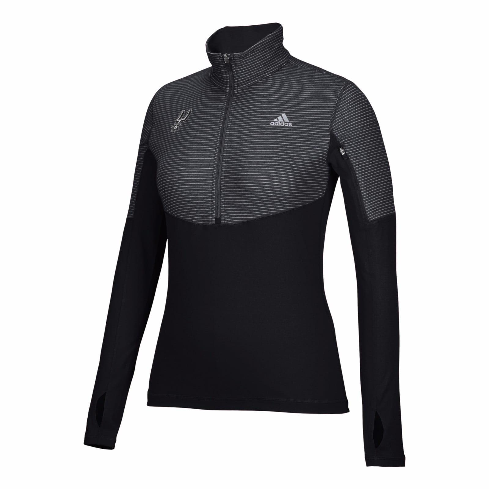 San Antonio Spurs NBA Adidas Black Lightweight Climalite Performance Half Zip Team Logo Pullover Jacket For Women by Adidas