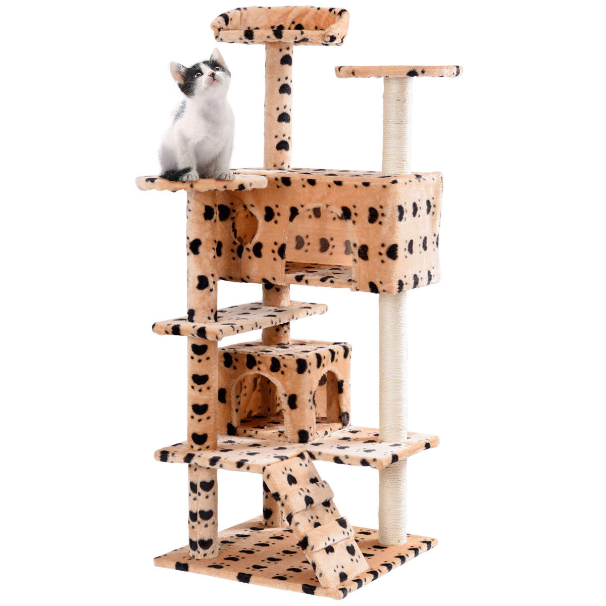Gymax 52'' Cat Tree Kitten Tower with Scratching Post and Ladder Condo Play House