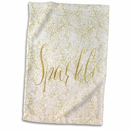3dRose Image of Blush Pink Sparkle Gold Confetti Ombre - Towel, 15 by 22-inch ()