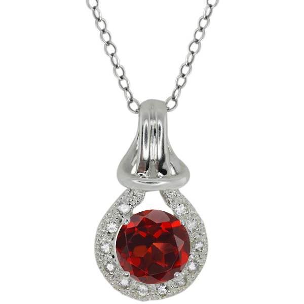 1.62 Ct Round Red Garnet White Sapphire Sterling Silver Pendant