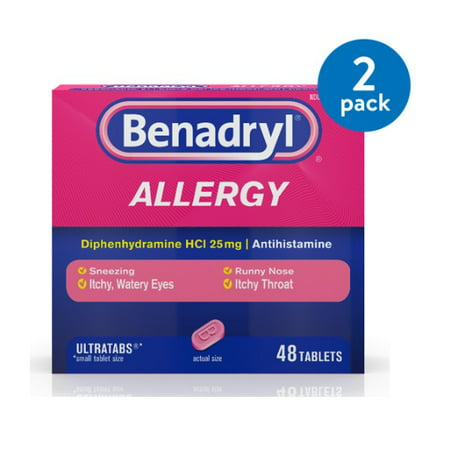 (2 Pack) Benadryl Ultratabs Antihistamine Allergy Medicine Tablets, 48