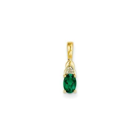 14K Yellow Gold (0.01cttw) Diamond and Emerald Pendant (16mm x 4mm)