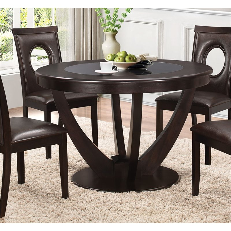 Coaster Round Dining Table in Cappuccino by Coaster