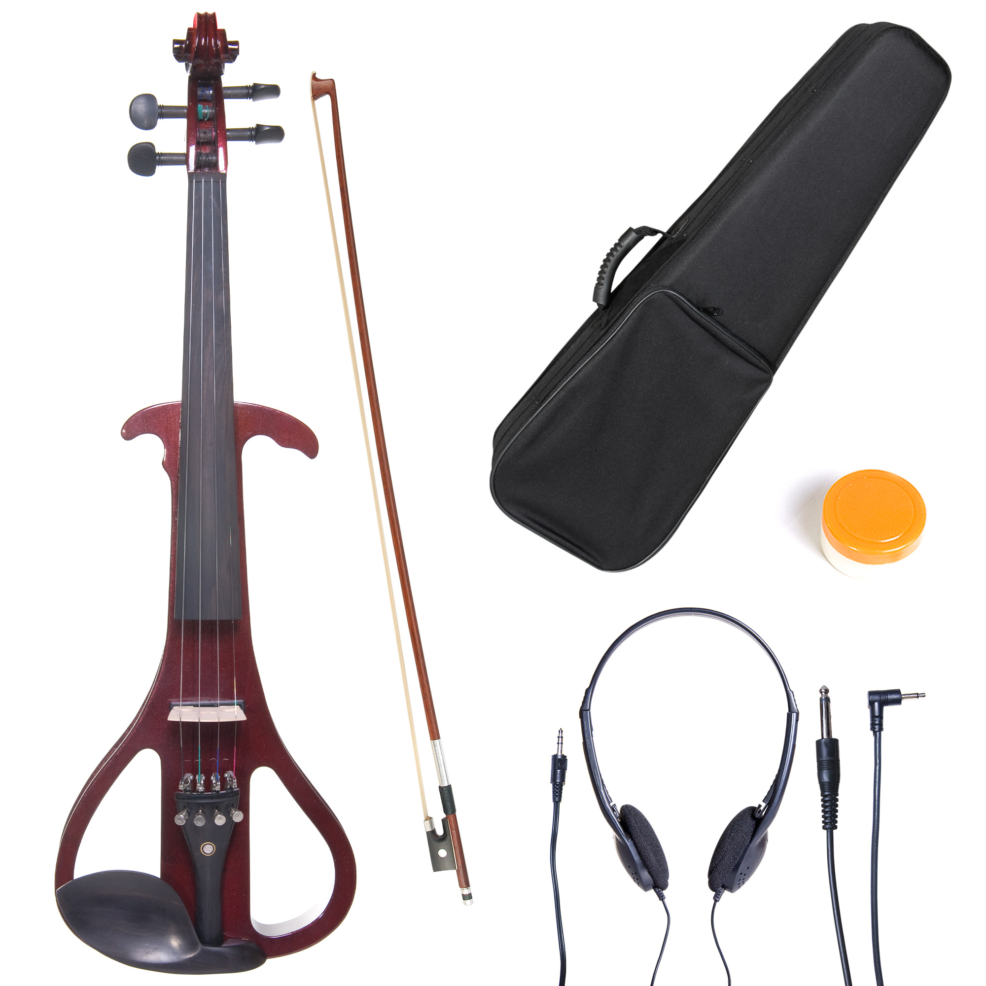 Cecilio 4/4 CEVN-4NA Solidwood Metallic Mahogany Electric/Silent Violin with Ebony Fittings-Full Size