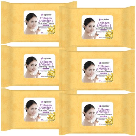 Cleansing Tissues (Epielle Collagen Vitamin E Facial Cleansing Tissues-30ct (6 Pack) )