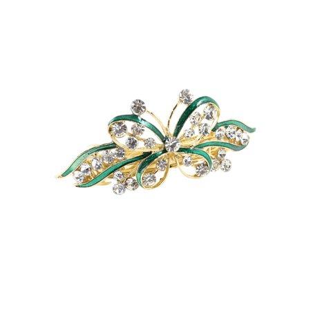 Unique Bargains Ladies Green Butterfly Glitter Rhinestone Hair Clip Barrette Gold (Tone Rhinestone Clip)