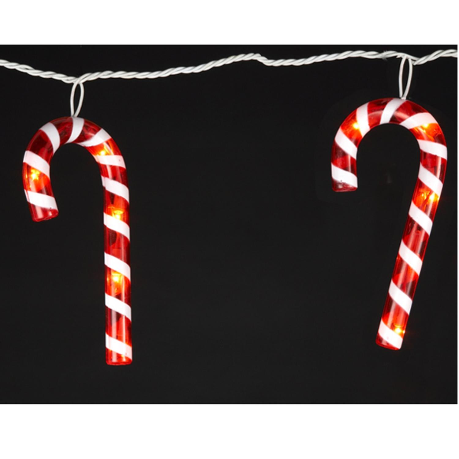 Set of 7 Outdoor Red and White Candy Cane Icicle Christmas