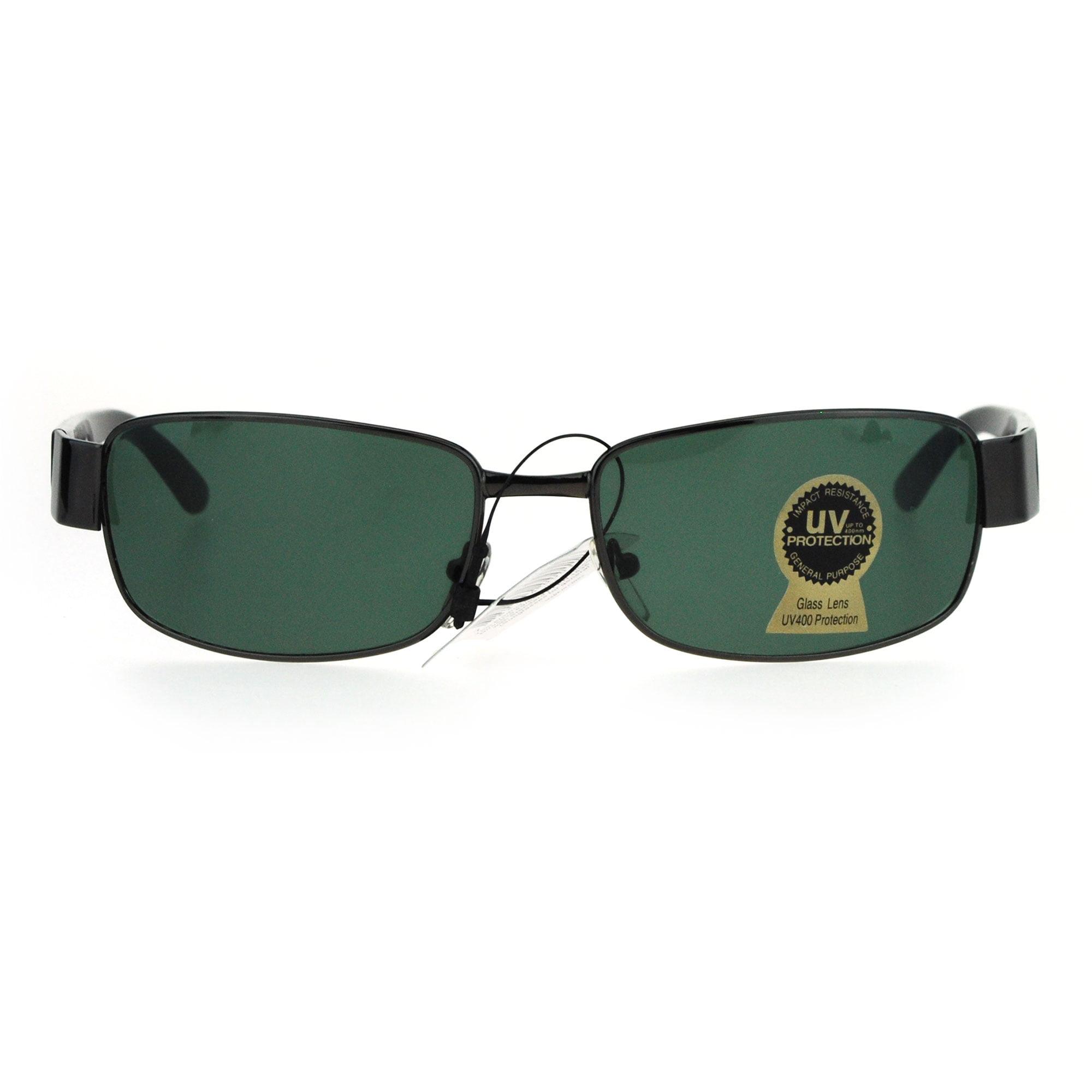 819b92f73e2 SA106 - Tempered Glass Lens Rectangular Luxury Mens Designer Sunglasses  Silver Black - Walmart.com
