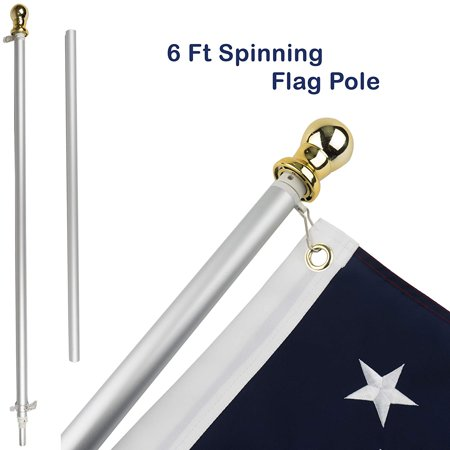 Jetlifee Tangle Free Spinning Flag Pole Veterans Owned Biz. 6ft Aluminum No Tangle Spinning Pole Silver Colored Globe Rust Free Wind Resistant Any Home, Residential Commercial Use(Flag Pole Only)