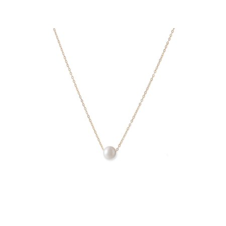 9mm Floating Cultured Freshwater Pearl Necklace 14k Yellow Gold