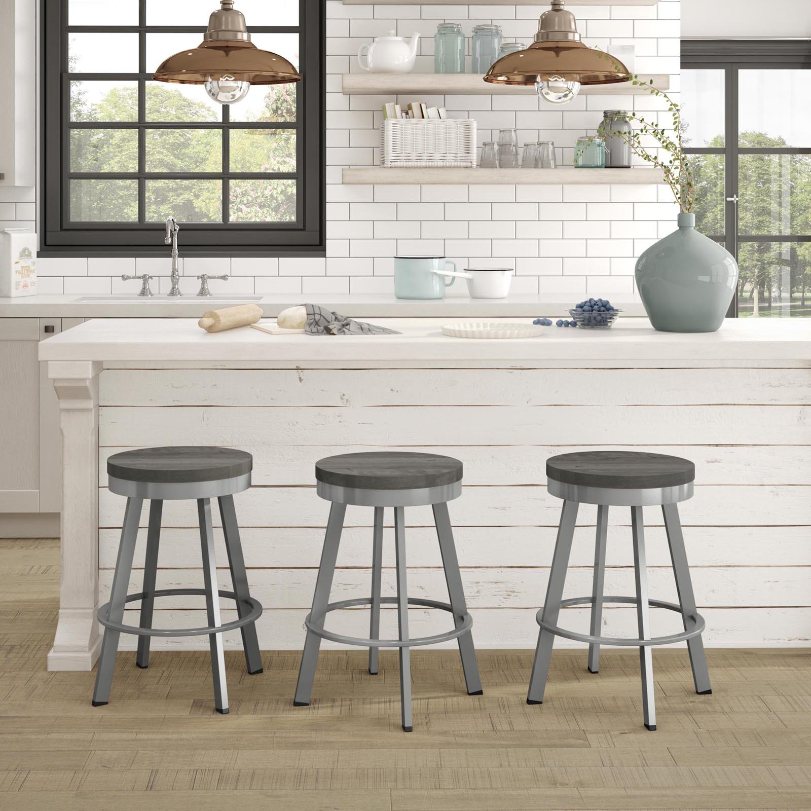 Amisco Warner 25 in. Swivel Counter Stool