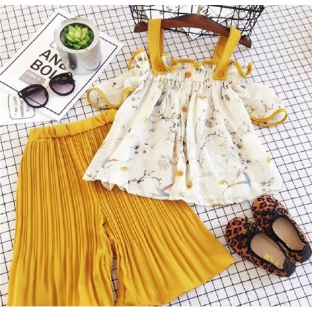 Fashion Kids Baby Girls Strap Floral Tops Loose Pants Outfits Set Clothes