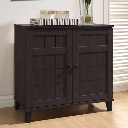- Glidden Dark Brown Wood Modern Shoe Cabinet, Short