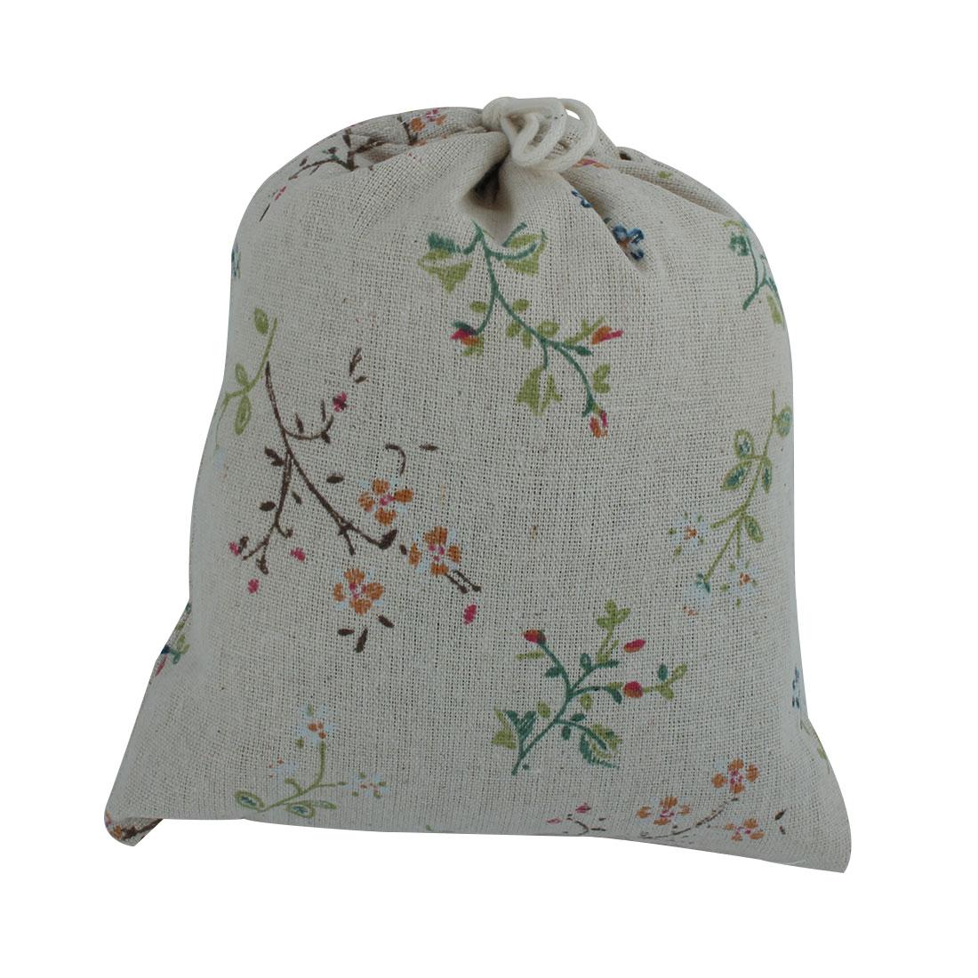 Travel Cotton Linen Leaf Print Drawstring Dust Resistant Pouch Storage Bag Khaki