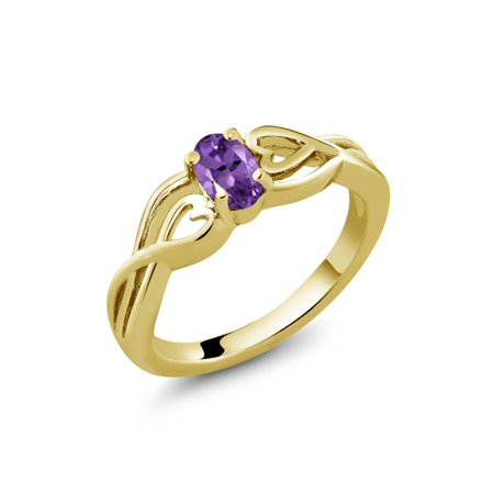 Gold Oval Amethyst - 0.35 Ct Oval Purple Amethyst 18K Yellow Gold Plated Silver Ring