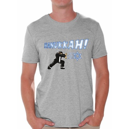 - Awkward Styles Hanukkah Tshirt for Men Happy Hanukkah Shirts Men's Chanukah T Shirt Ugly Hanukkah Shirt Jewish Holiday Gifts for Him Funny Chanukah Menorah T-Shirt Gifts for Jewish Men Holiday Tshirt