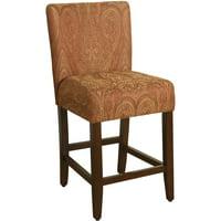 """HomePop Upholstered Barstool Red Gold Damask 29"""" bar height"""