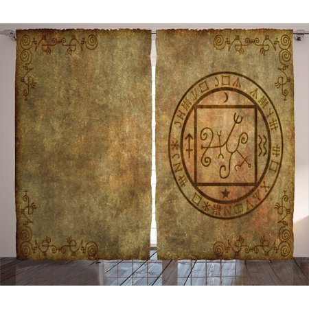 Occult Decor Curtains 2 Panels Set, Ancient Textured Mystic Occult Sigil Seal Icon over Distressed Old Background Decor, Window Drapes for Living Room Bedroom, 108W X 84L Inches, Tan, by Ambesonne