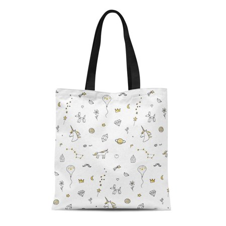 ASHLEIGH Canvas Tote Bag Unicorn Birthday Doodle Pattern Outline Party Animated Anniversary Balloon Durable Reusable Shopping Shoulder Grocery Bag Animated Birthday Party
