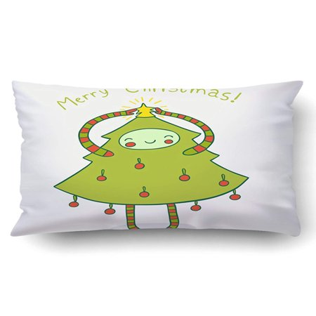 ARTJIA Xmas Cute Christmas Tree Adorned With A Star Cute Holiday Design Pillow Case Cushion Cover Case Throw Pillow Case 20x30 inches ()