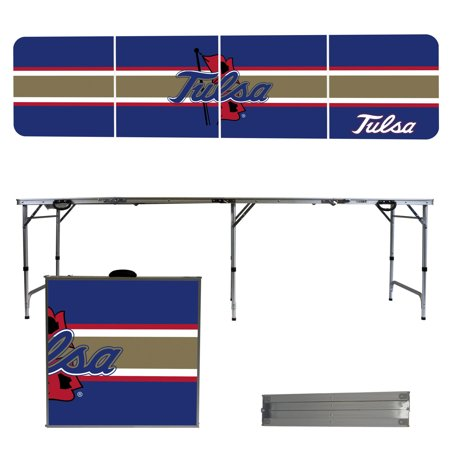 Tulsa Golden Hurricane Striped Design 8' Portable Folding Tailgate Table - No Size ()
