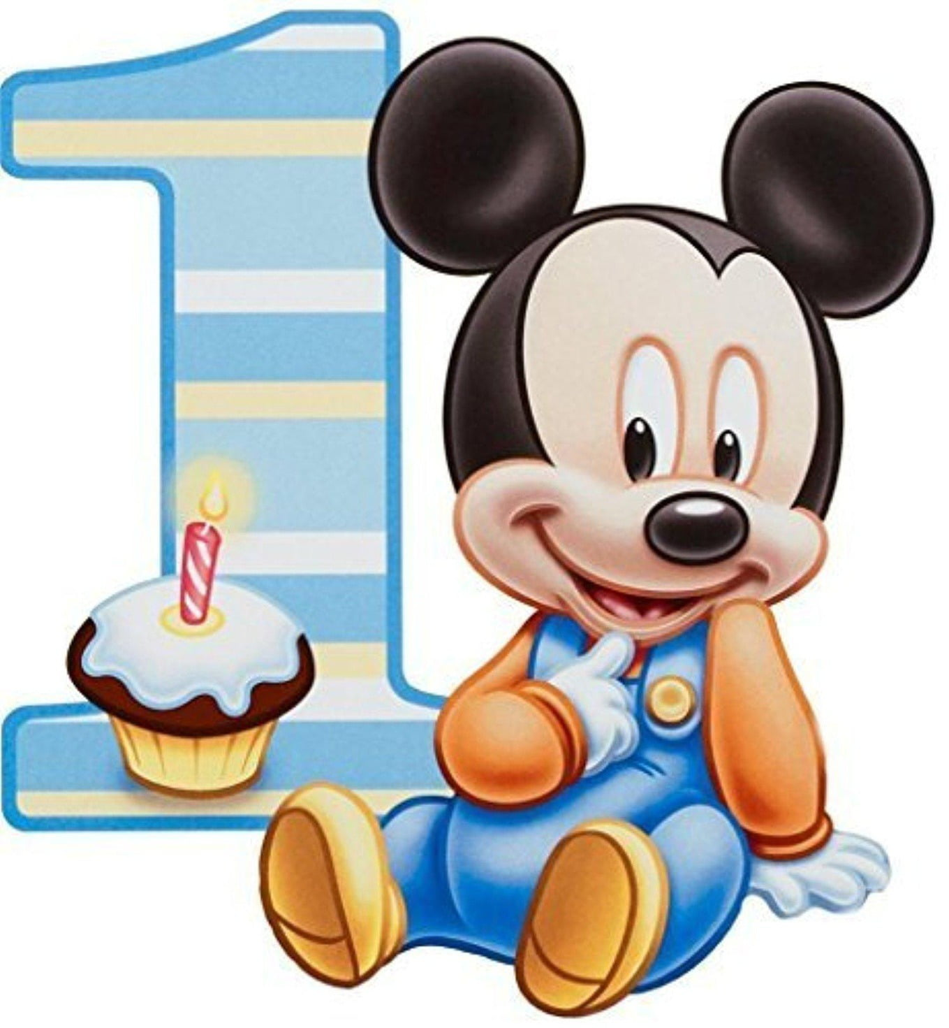 Fine Baby Mickey Mouse 1St Birthday Cupcake Edible Cake Topper Image Birthday Cards Printable Trancafe Filternl