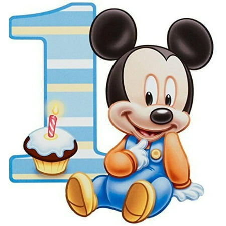 Baby Mickey Mouse 1st Birthday Cupcake Edible Cake Topper Image