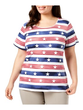 d86fe654f6a Product Image Karen Scott Womens Plus Striped Pullover Graphic T-Shirt