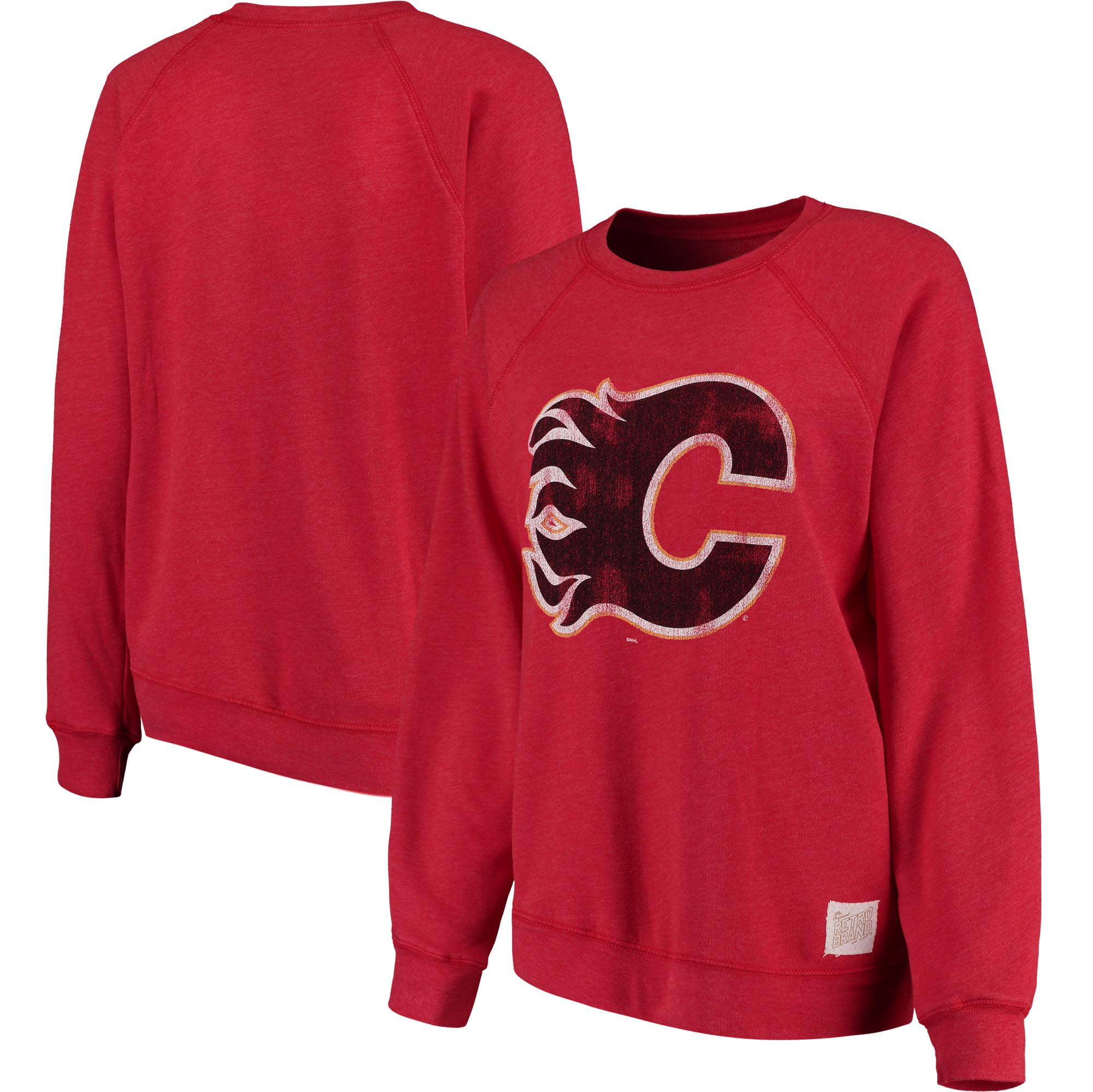 Calgary Flames Original Retro Brand Women's Vintage Tri-Blend Pullover Sweatshirt - Red