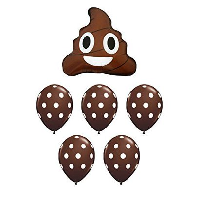 Emoji Poop Balloon Bouquet with RibbonPerfect for an emoji theme party By American Balloon Company