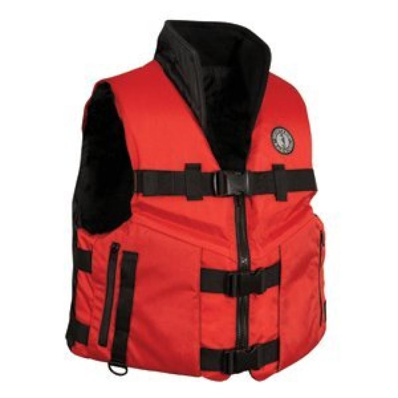 Mustang Accel 100 Fishing Vest Red Black Large by