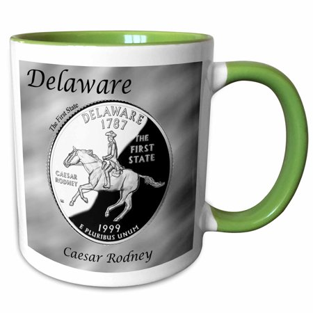 3dRose State Quarter Delaware - Two Tone Green Mug, 15-ounce