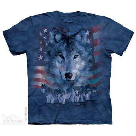 Blue 100% Cotton Patriotic Wolfpack Novelty T-Shirt