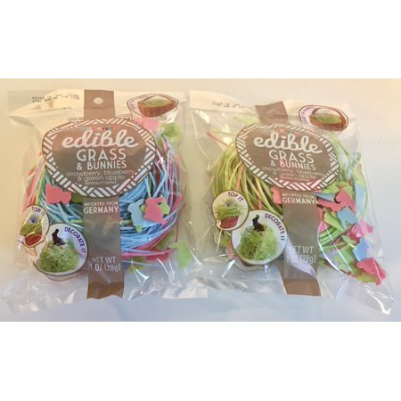Edible Easter Candy Grass, Green Apple, Strawberry, Blueberry with Bunnies (2 - Edible Easter Grass