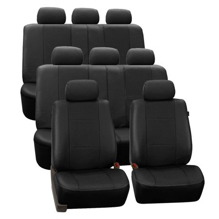 FH Group Black Deluxe Faux Leather Airbag Compatible and Split Bench Car Seat Covers, 8 Seater 3 Row Full Set