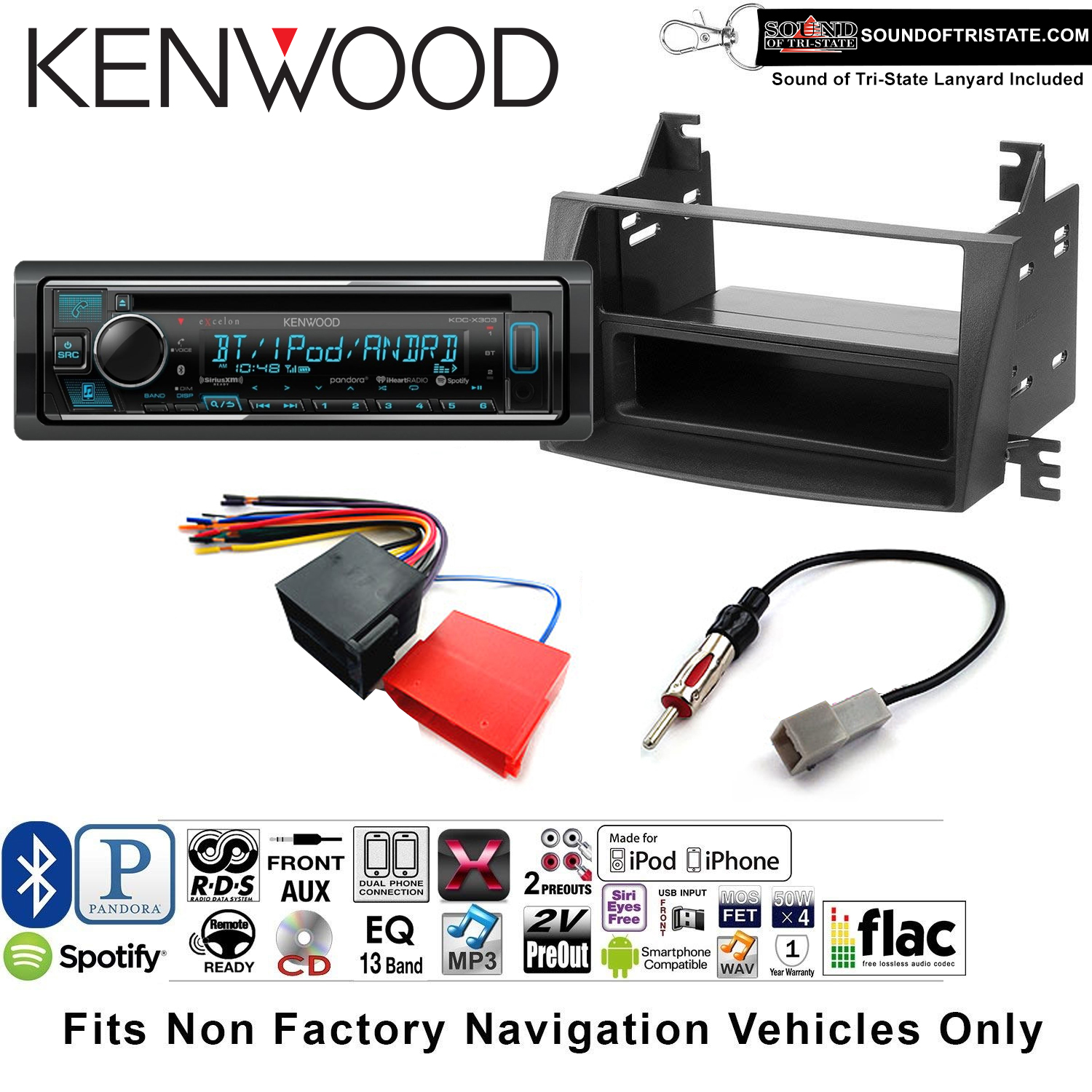 Kenwood KDCX303 Double Din Radio Install Kit with Bluetooth, CD Player, USB/AUX Fits 2009-2010 Hyundai Sonata(NON AMPLIFIED SYSTEM) and a SOTS lanyard included