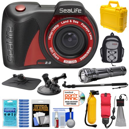 SeaLife Micro 2.0 32GB Wi-Fi Underwater Digital Camera with Suction Cup & Buoy Mount + Extension Pole + LED Torch + Backpack + Hard Case + Kit