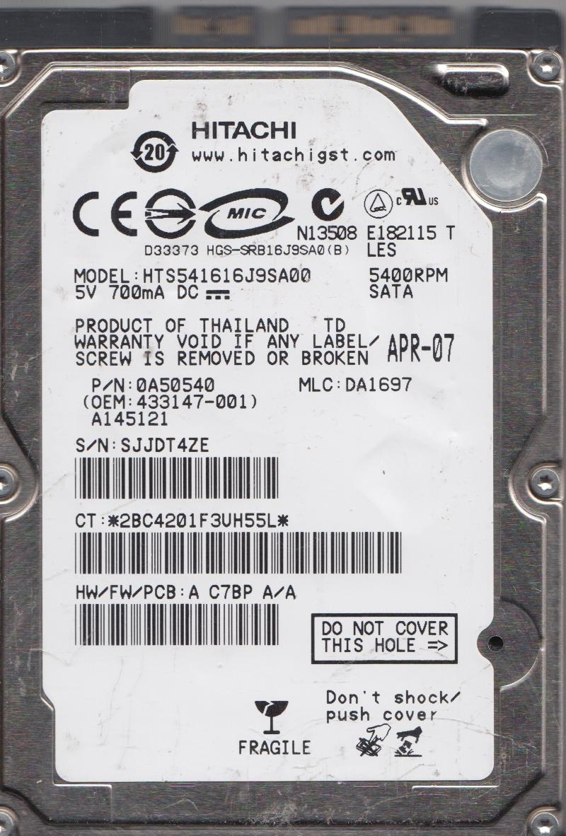 "See list for MLC#/'s /& PN#/'s Hitachi HTS541616J9SA00 160gb 2.5/"" Sata PCB"