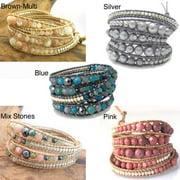 Aeravida Handmade Gemstone Snake Cord Leather Wrap Bracelet (Thailand)