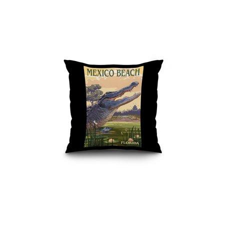 Mexico Beach, Florida - Alligator and Baby - Lantern Press Artwork (16x16 Spun Polyester Pillow, Black Border)