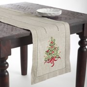 Saro Lifestyle Christmas Tree Design Embroidered Table Topper or Table Runner